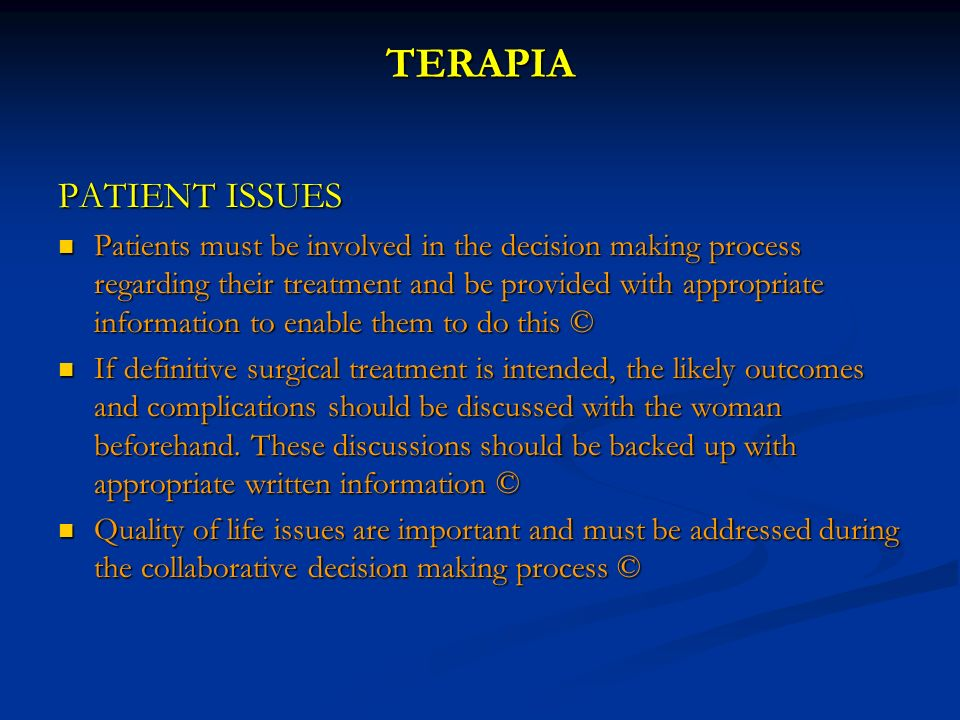 TERAPIA PATIENT ISSUES