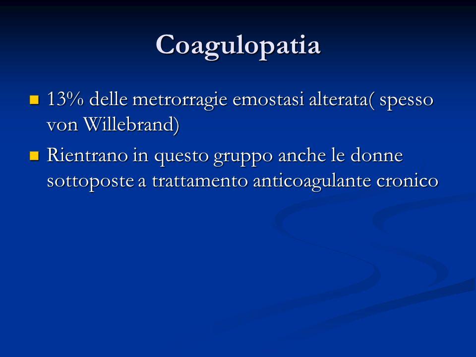 Coagulopatia 13% delle metrorragie emostasi alterata( spesso von Willebrand)