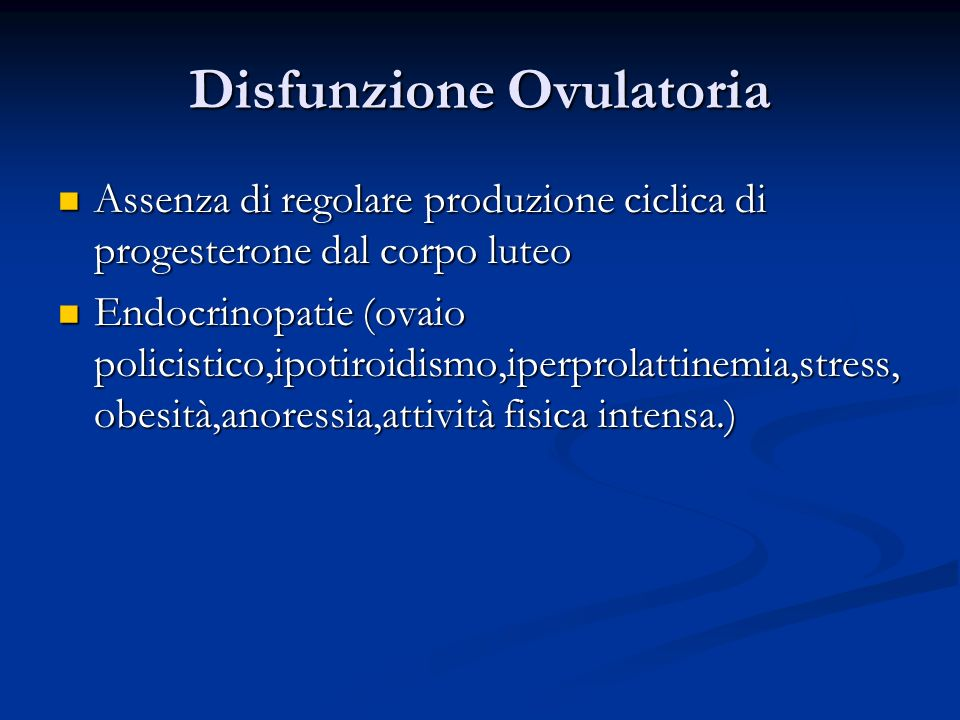 Disfunzione Ovulatoria
