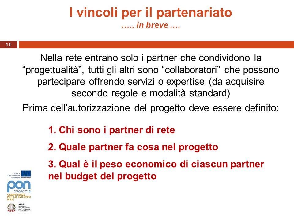 I vincoli per il partenariato ….. in breve ….