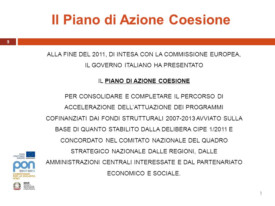 Il Piano di Azione Coesione