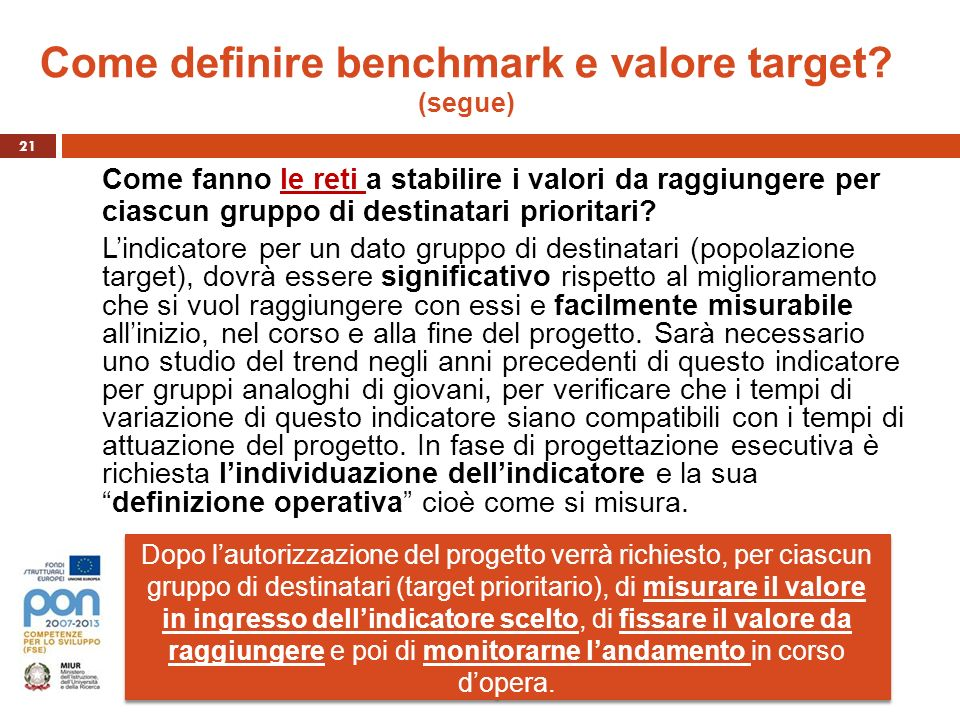 Come definire benchmark e valore target (segue)
