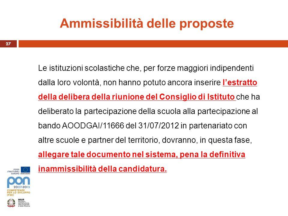 Ammissibilità delle proposte