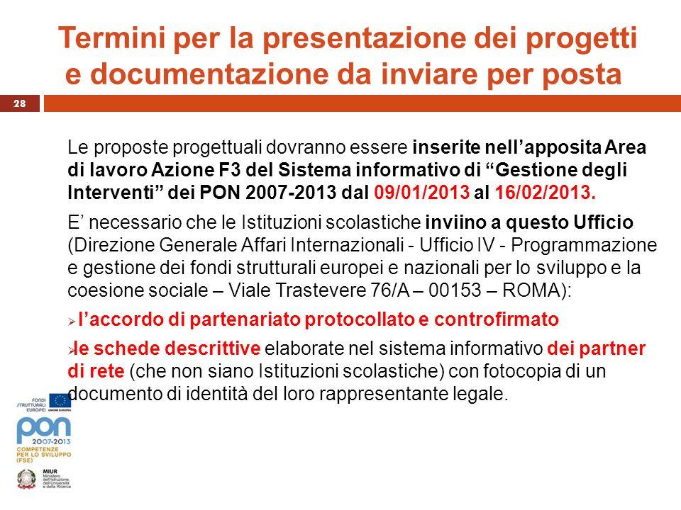 Termini per la presentazione dei progetti e documentazione da inviare per posta