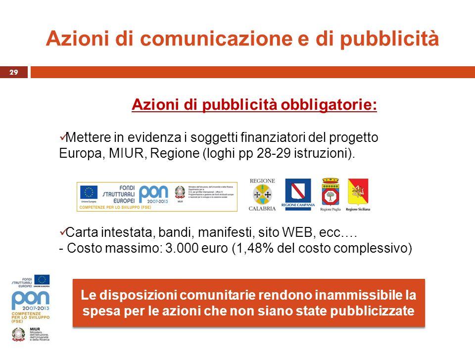 Azioni di comunicazione e di pubblicità