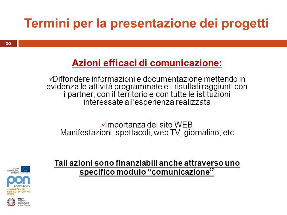 Termini per la presentazione dei progetti