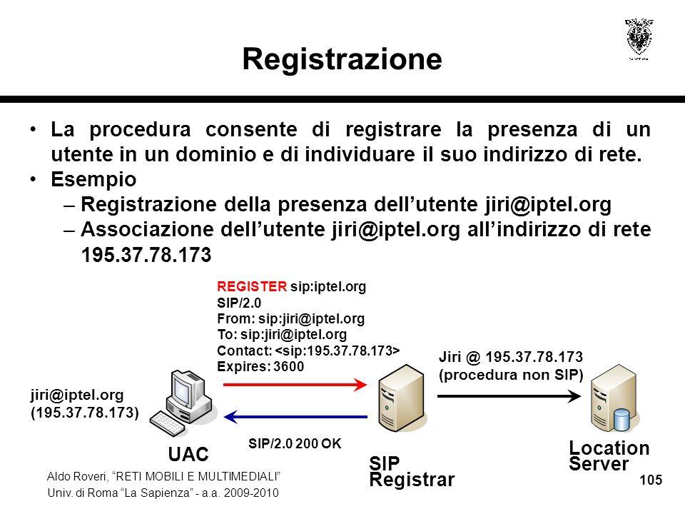 Registrazione La procedura consente di registrare la presenza di un utente in un dominio e di individuare il suo indirizzo di rete.