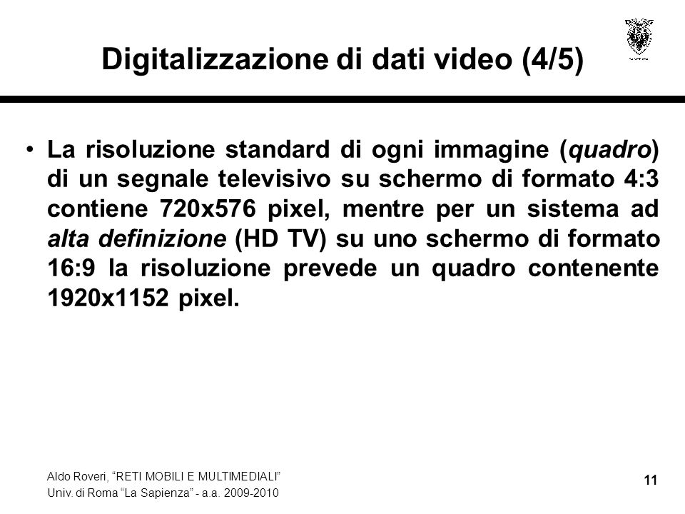 Digitalizzazione di dati video (4/5)