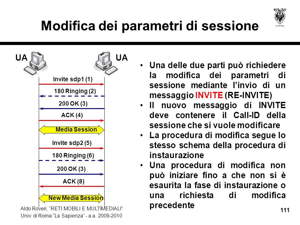 Modifica dei parametri di sessione