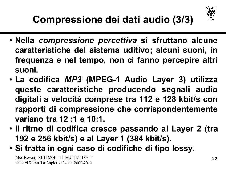 Compressione dei dati audio (3/3)