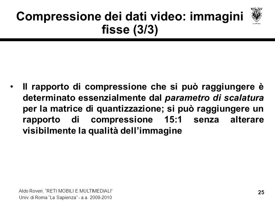 Compressione dei dati video: immagini fisse (3/3)