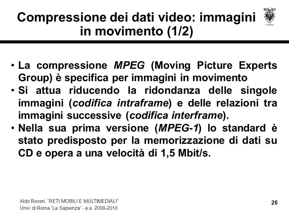 Compressione dei dati video: immagini in movimento (1/2)