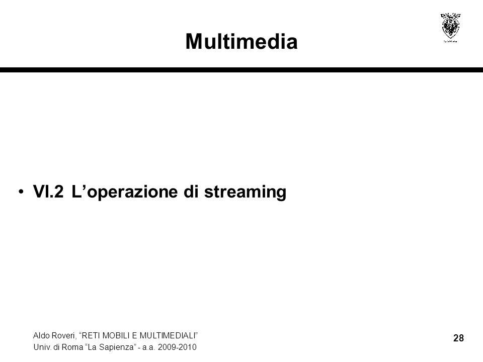Multimedia VI.2 L'operazione di streaming
