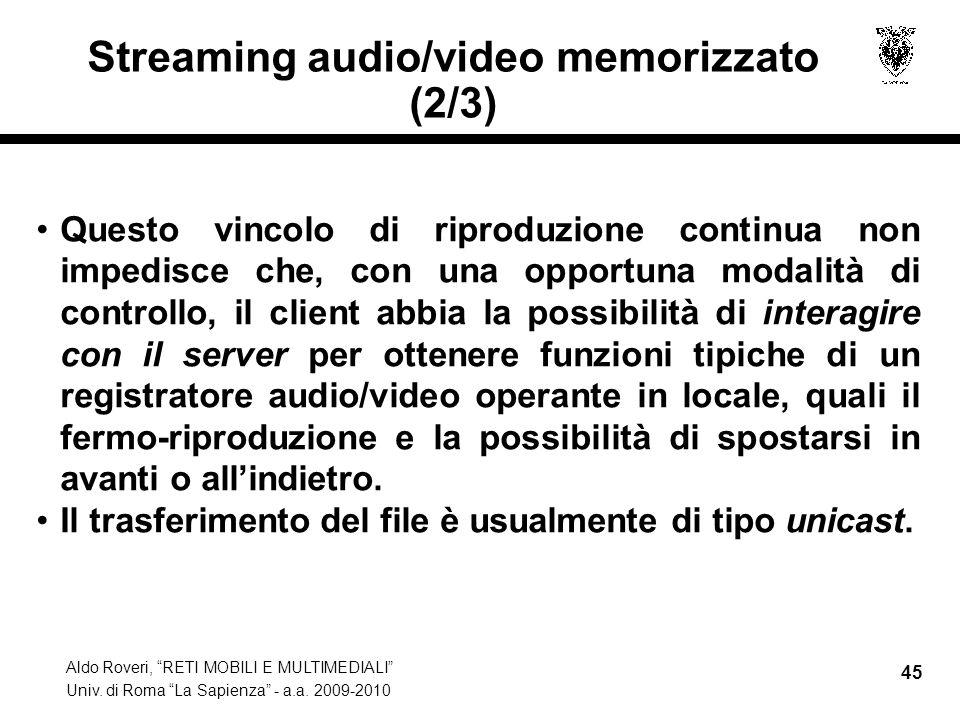 Streaming audio/video memorizzato (2/3)