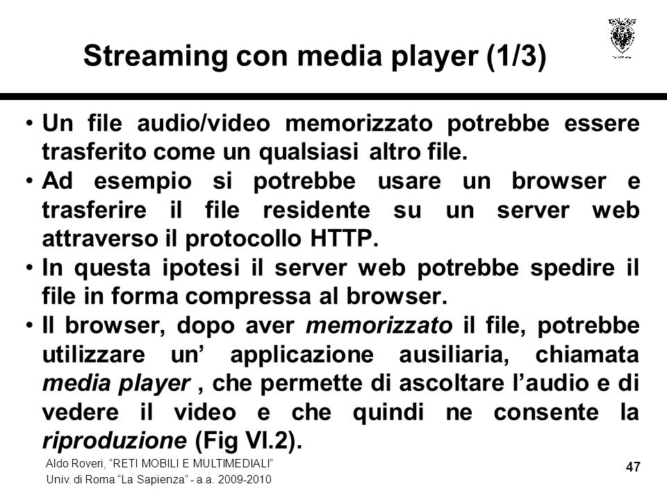 Streaming con media player (1/3)