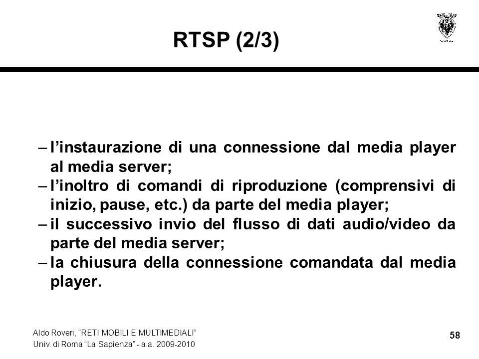 RTSP (2/3) l'instaurazione di una connessione dal media player al media server;
