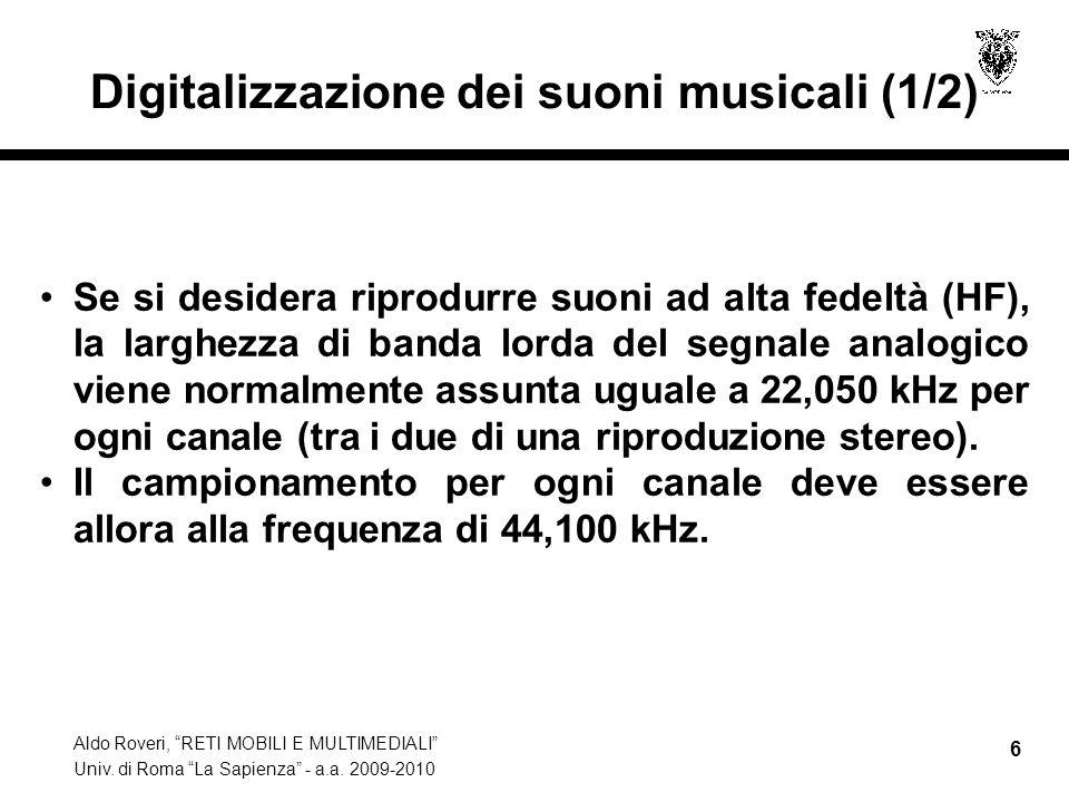 Digitalizzazione dei suoni musicali (1/2)