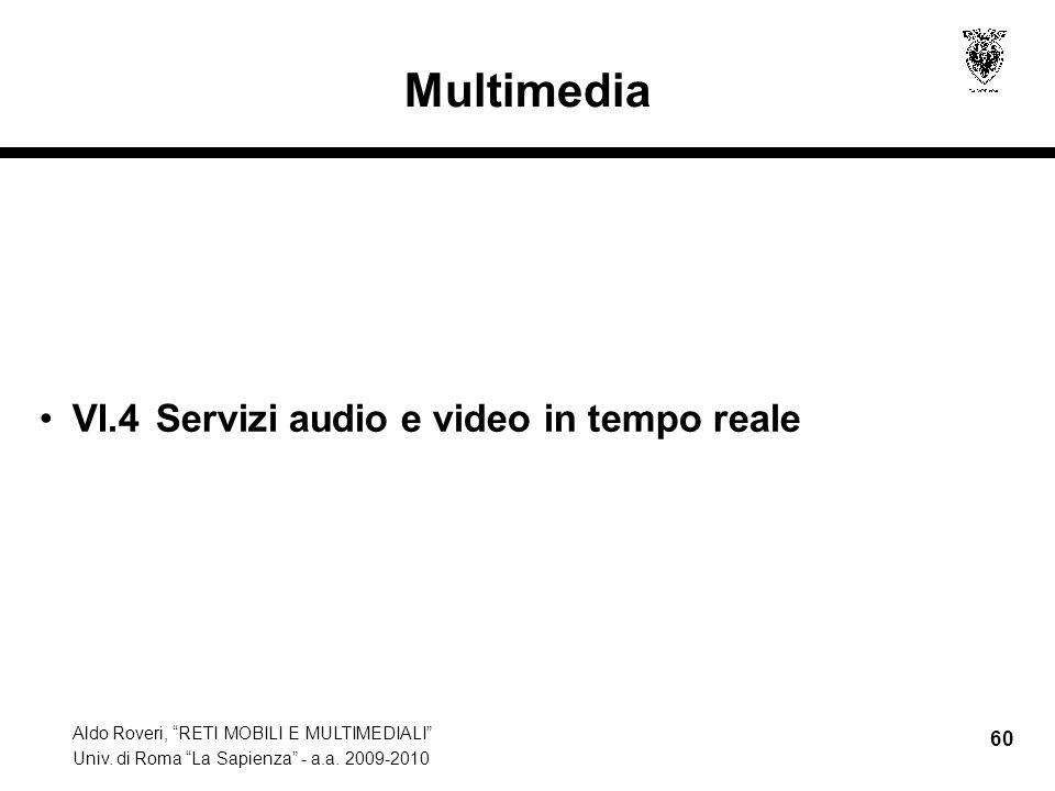 Multimedia VI.4 Servizi audio e video in tempo reale
