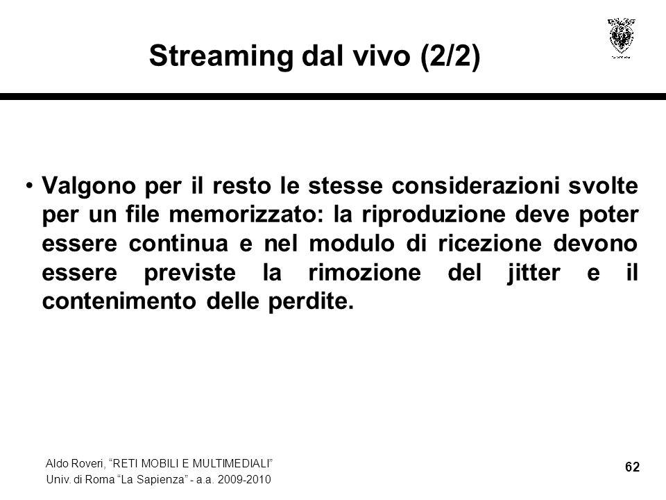 Streaming dal vivo (2/2)