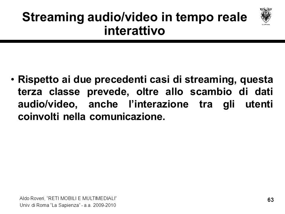 Streaming audio/video in tempo reale interattivo