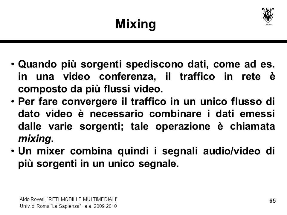 Mixing Quando più sorgenti spediscono dati, come ad es. in una video conferenza, il traffico in rete è composto da più flussi video.