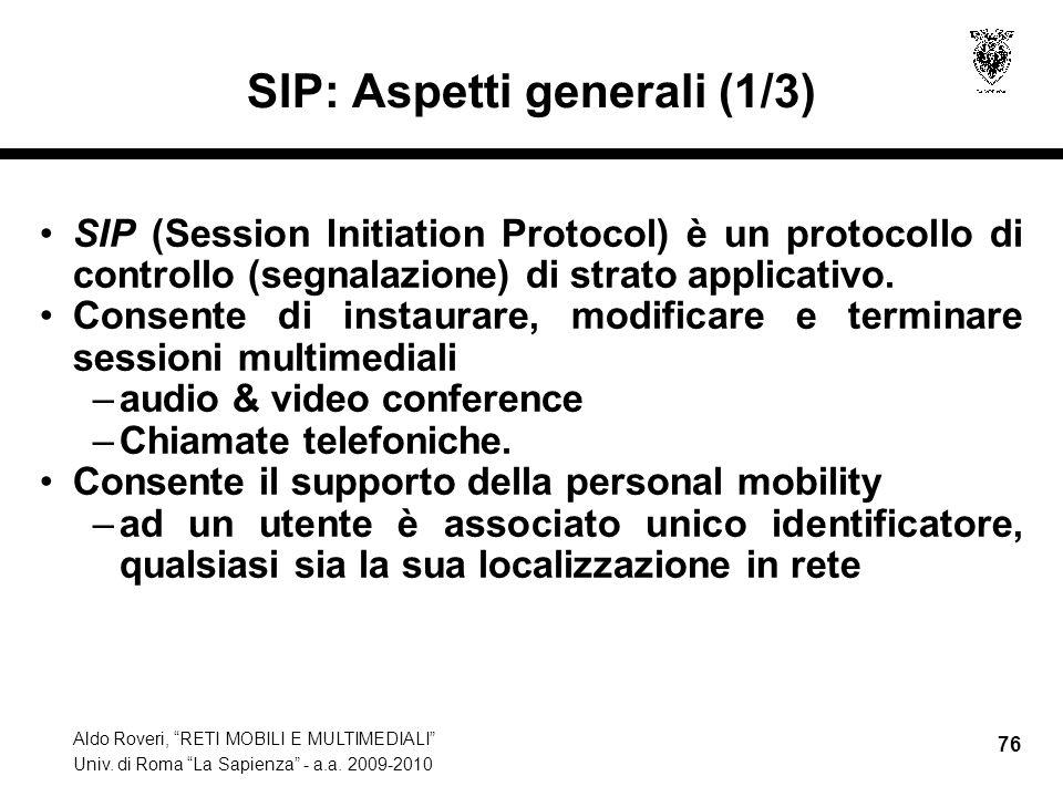 SIP: Aspetti generali (1/3)