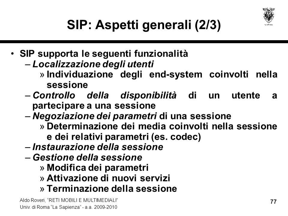 SIP: Aspetti generali (2/3)