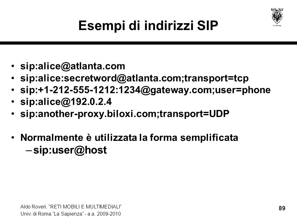 Esempi di indirizzi SIP