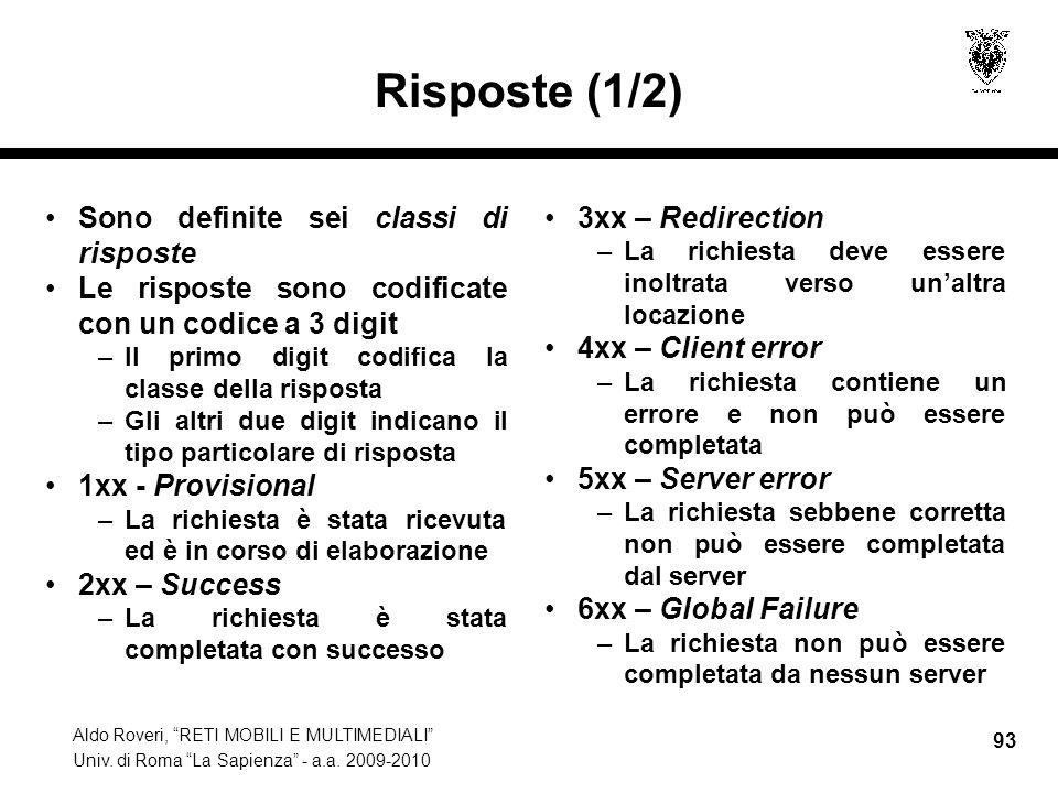 Risposte (1/2) Sono definite sei classi di risposte