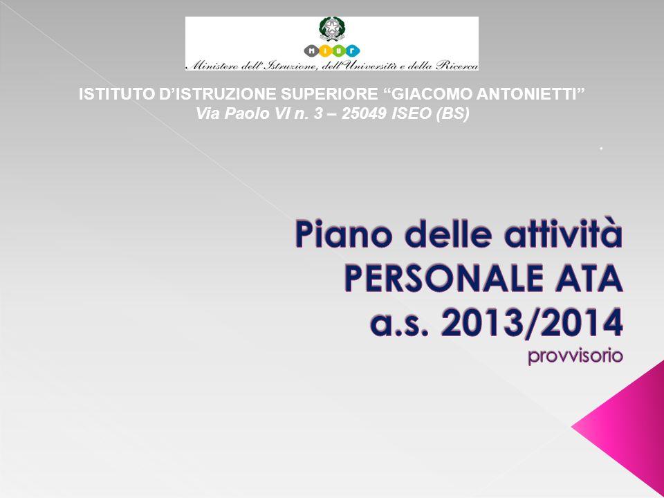 Piano delle attività PERSONALE ATA a.s. 2013/2014 provvisorio