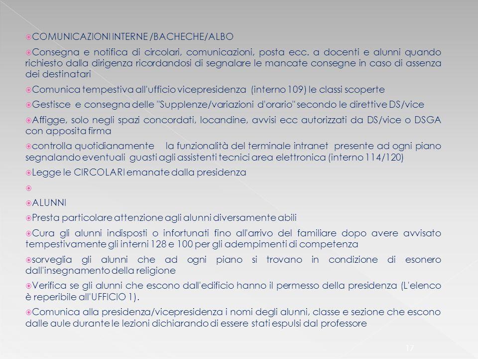 COMUNICAZIONI INTERNE /BACHECHE/ALBO