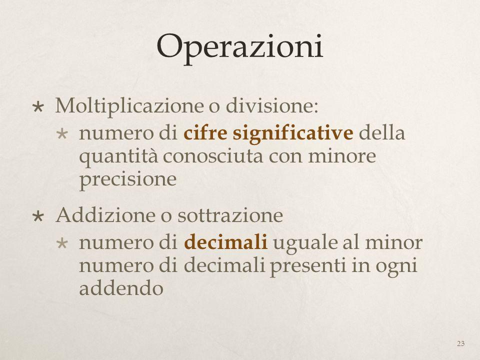 Operazioni Moltiplicazione o divisione: