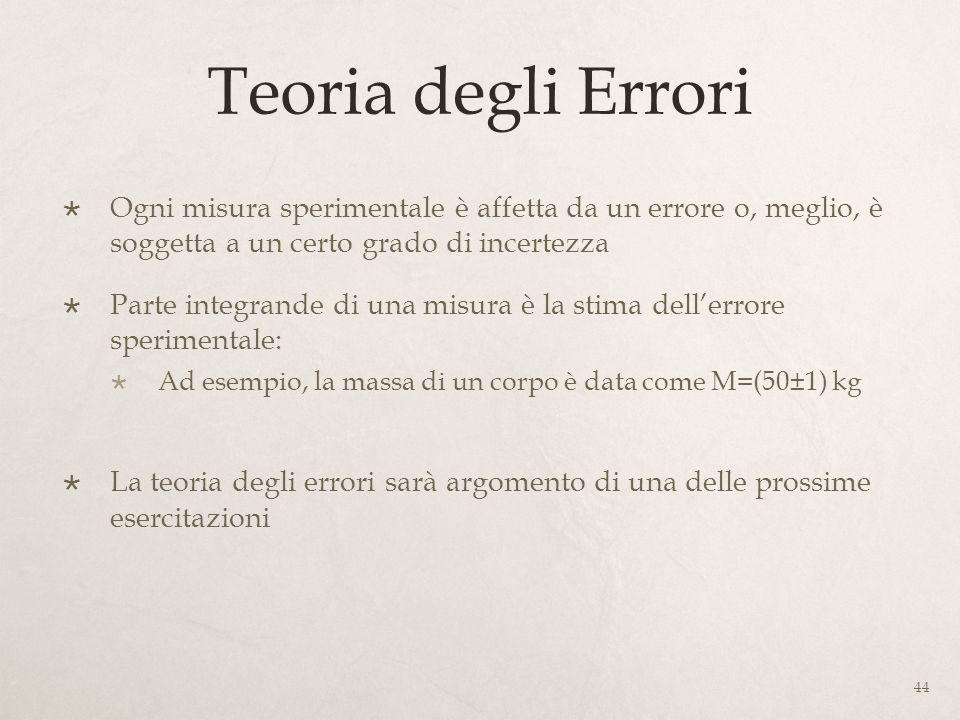 Teoria degli Errori Ogni misura sperimentale è affetta da un errore o, meglio, è soggetta a un certo grado di incertezza.