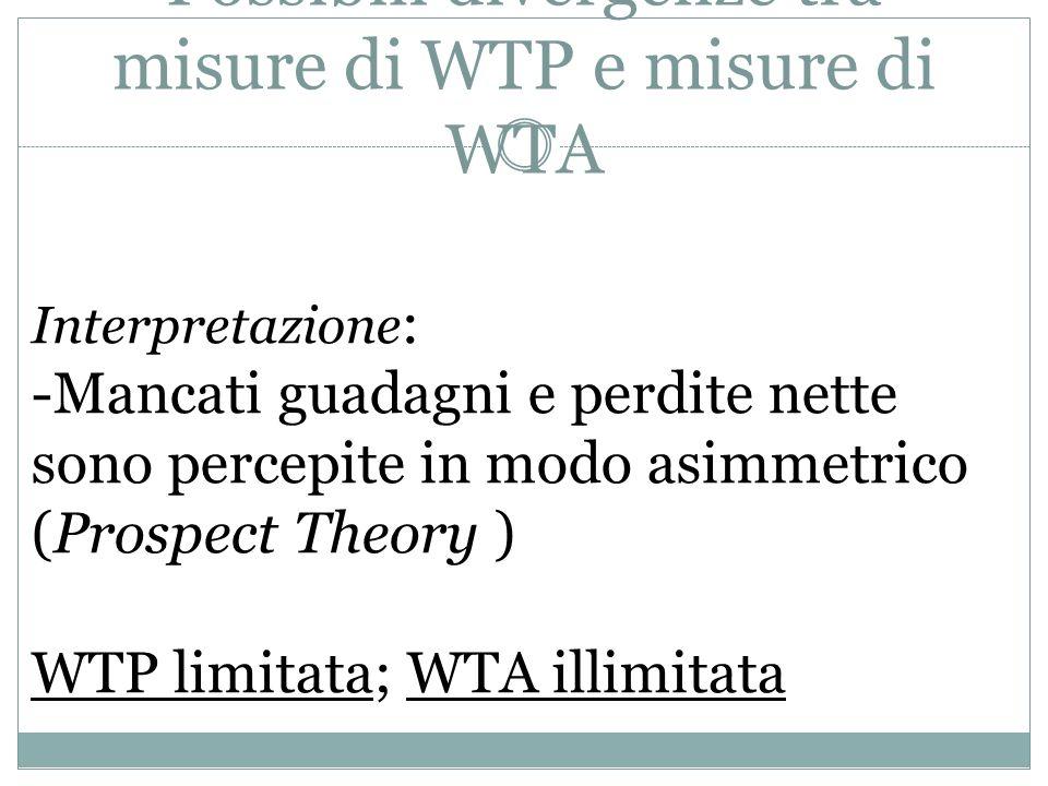 Possibili divergenze tra misure di WTP e misure di WTA