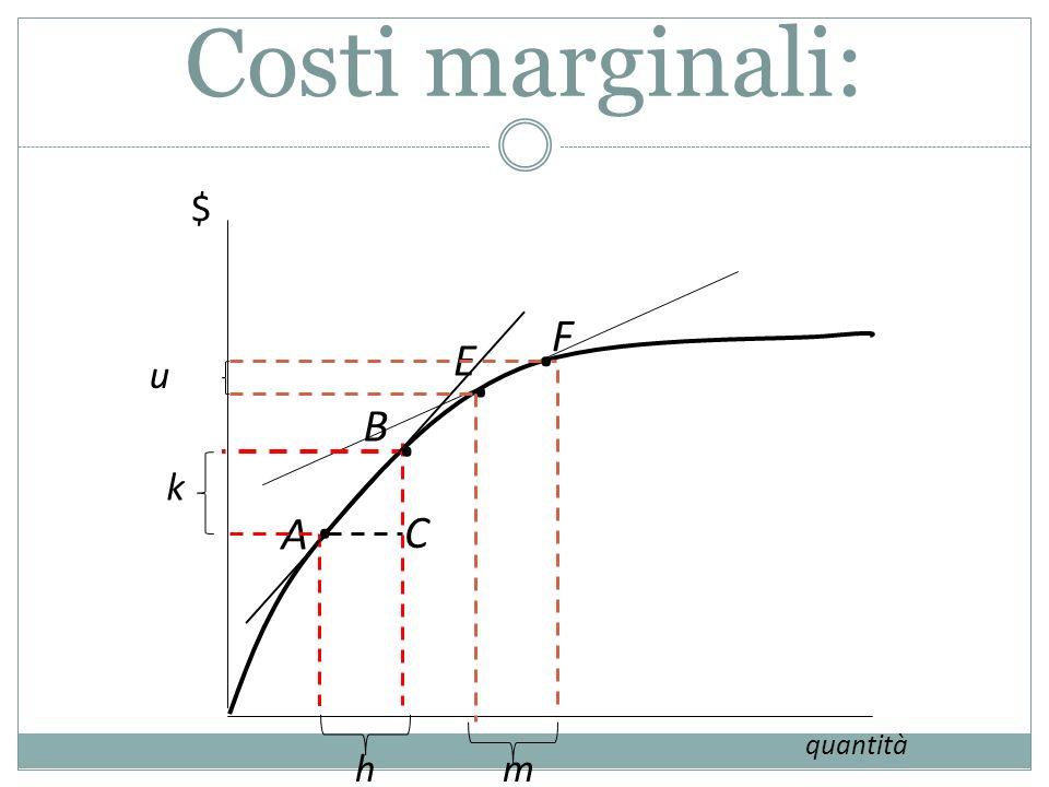 Costi marginali: $ . F . E n . B k . A C quantità h m