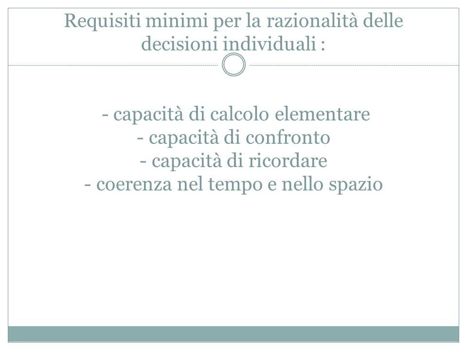 Requisiti minimi per la razionalità delle decisioni individuali : - capacità di calcolo elementare - capacità di confronto - capacità di ricordare - coerenza nel tempo e nello spazio