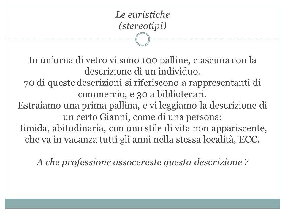 Le euristiche (stereotipi) In un'urna di vetro vi sono 100 palline, ciascuna con la descrizione di un individuo.