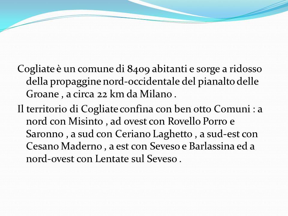 Cogliate è un comune di 8409 abitanti e sorge a ridosso della propaggine nord-occidentale del pianalto delle Groane , a circa 22 km da Milano .