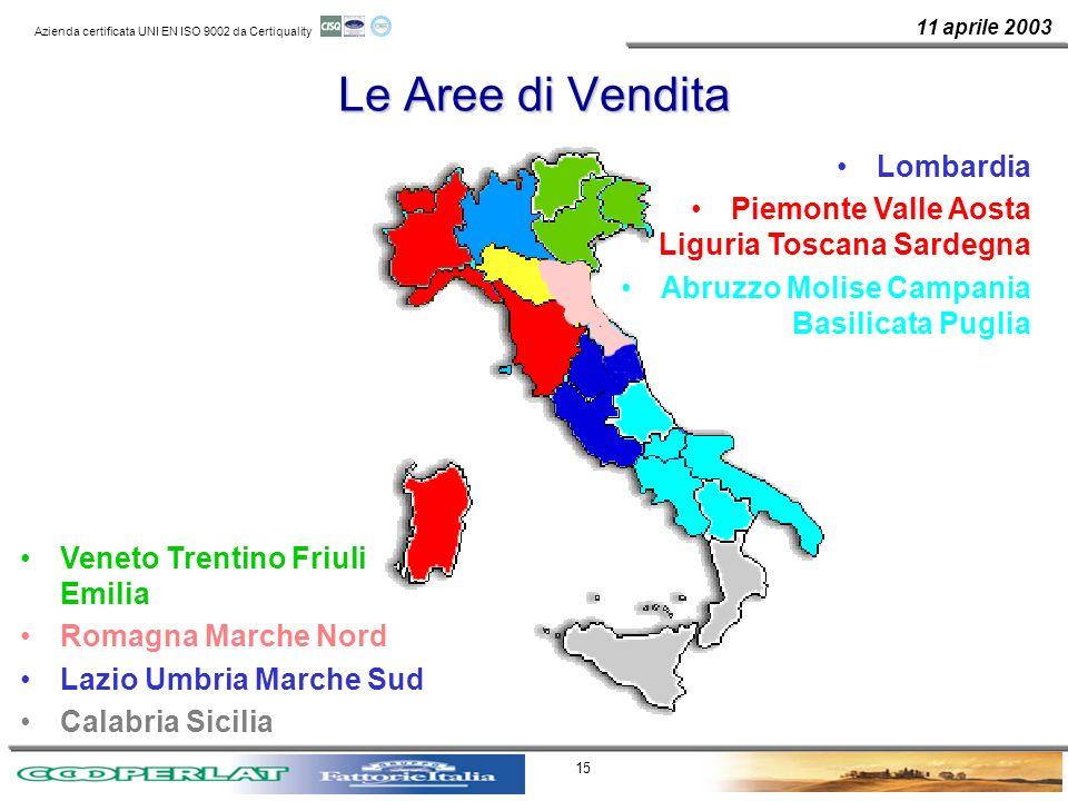 Le Aree di Vendita Lombardia