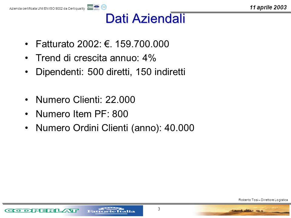 Dati Aziendali Fatturato 2002: €. 159.700.000