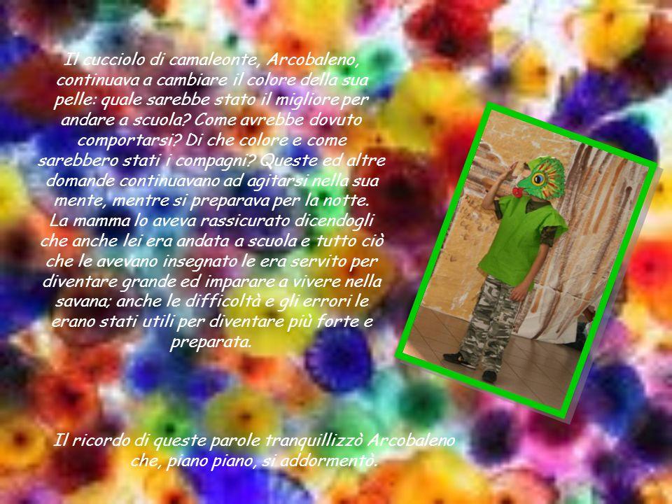 Il cucciolo di camaleonte, Arcobaleno, continuava a cambiare il colore della sua pelle: quale sarebbe stato il migliore per andare a scuola Come avrebbe dovuto comportarsi Di che colore e come sarebbero stati i compagni Queste ed altre domande continuavano ad agitarsi nella sua mente, mentre si preparava per la notte.