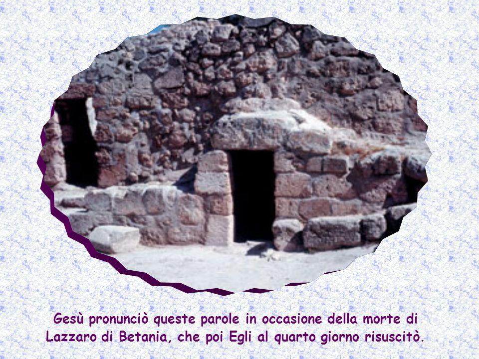 Gesù pronunciò queste parole in occasione della morte di Lazzaro di Betania, che poi Egli al quarto giorno risuscitò.