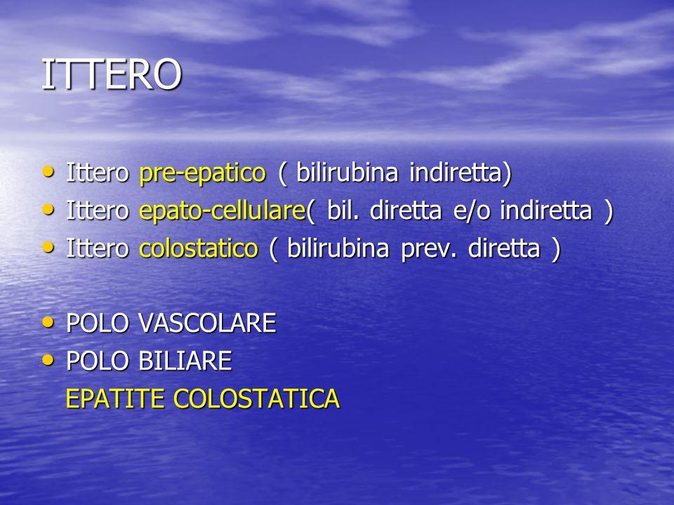 ITTERO Ittero pre-epatico ( bilirubina indiretta)