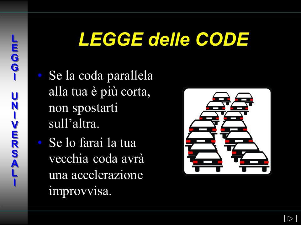 L E G G I U N I V E R S A L ILEGGE delle CODE. Se la coda parallela alla tua è più corta, non spostarti sull'altra.