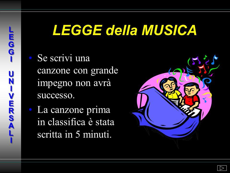 L E G G I U N I V E R S A L ILEGGE della MUSICA. Se scrivi una canzone con grande impegno non avrà successo.