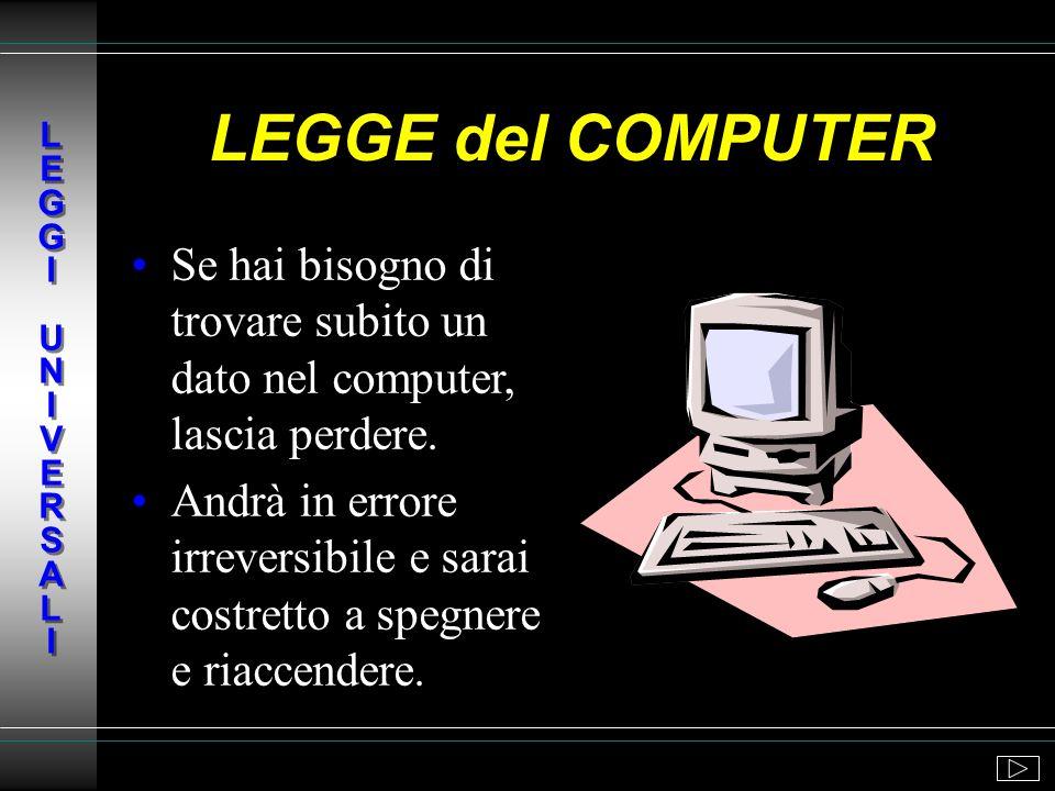 L E G G I U N I V E R S A L ILEGGE del COMPUTER. Se hai bisogno di trovare subito un dato nel computer, lascia perdere.