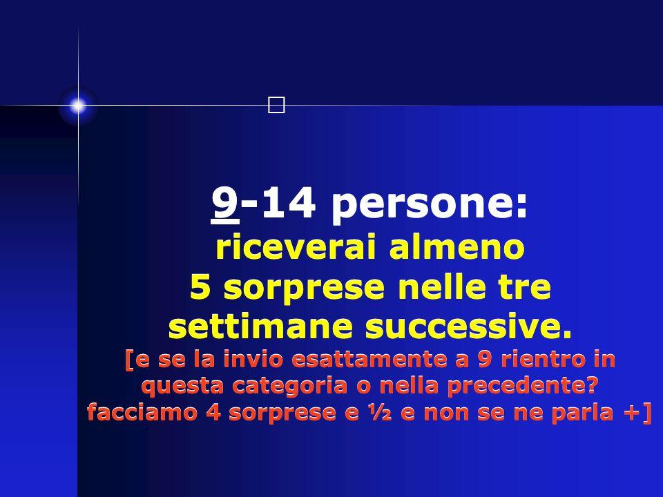 9-14 persone: riceverai almeno 5 sorprese nelle tre settimane successive.