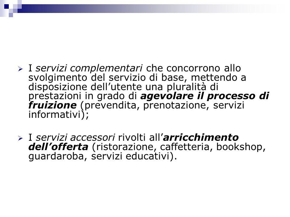 I servizi complementari che concorrono allo svolgimento del servizio di base, mettendo a disposizione dell'utente una pluralità di prestazioni in grado di agevolare il processo di fruizione (prevendita, prenotazione, servizi informativi);