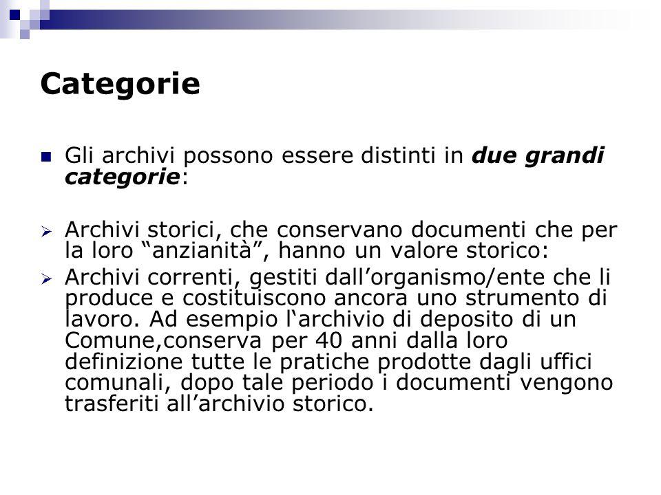 Categorie Gli archivi possono essere distinti in due grandi categorie:
