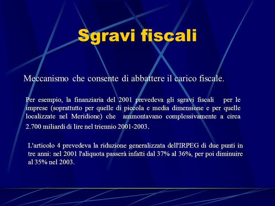 Sgravi fiscali Meccanismo che consente di abbattere il carico fiscale.